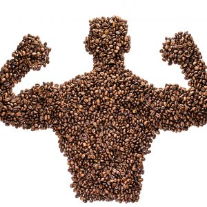 Flat composition Of Coffee Bean Torso Strong Coffee Man Isolated On White Background