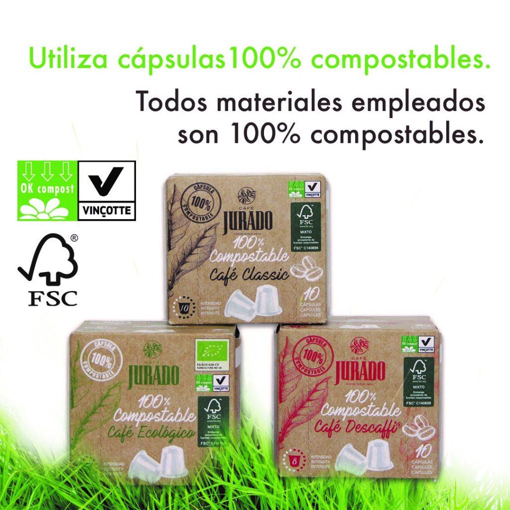 comprar cápsulas de café compostables o biodegradables online Cafe Jurado compatibles con cafeteras nespresso