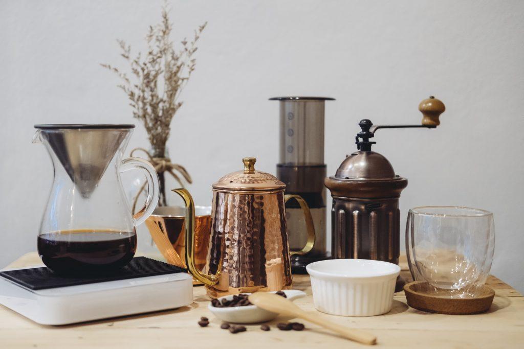 materiales para preparar un café espresso